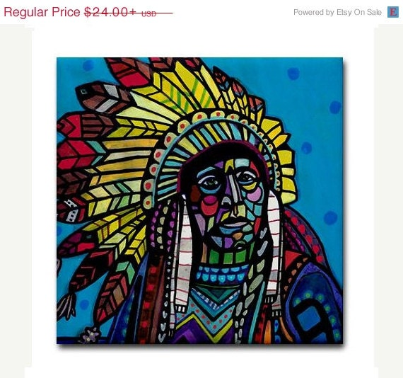 50% OFF - American Indian Chief Art Tile Ceramic Coaster Print of painting by Heather Galler Abstract Portrait