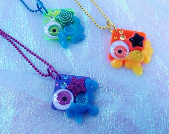 Ooohy Goohy Madness Square Delights Eye Ball Slime and Stars Kawaii Creepy UV Reactive Pendant Necklace Laser Cut Acrylic Decoden Deco neon