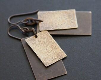 Layered Brass Tag Earrings, Rectangle Earrings, Rustic Earrings, Earthy Metal Earrings