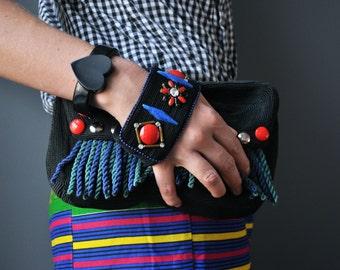Clutch purse bag hand decorated vintage silk glass cabochons rhinestones vintage fringe handmade