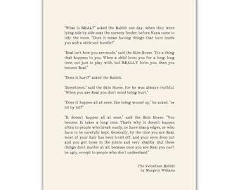 Velveteen Rabbit Quote Print, Typographic Art, literature, wedding reading
