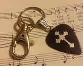 Guitar Pick KeyChain - Black Guitar Pick Key Chain - Guitar pick Jewelry - Christian Key Chain - Pick Key Chain - Swivel Clip Keychain
