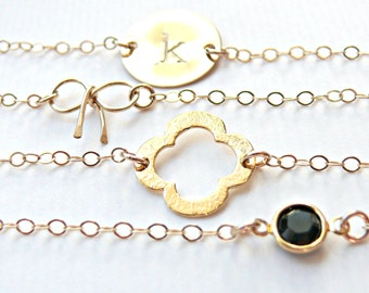 Gold Clover Bracelet Gold - Lucky Four Leaf Clover Bracelet - Dainty Gold Bracelet - Clover Petite Bracelet