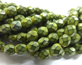 100 Czech Glass Fire Polish  in  a Olive Snake Skin Beads in size 4mm Round