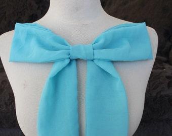 Blue color chiffon bow applique
