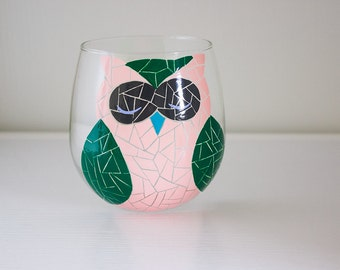 Funky Pink, Green, and Blue Mosaic Woodland Owl Hand Painted Wine Glass (Stemless or with Stems)