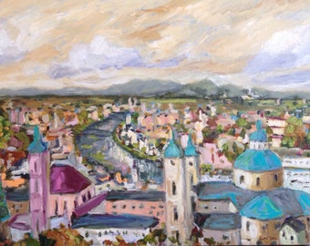 "View in Salzburg European Panoramic View 20x30"" acrylics on canvas original painting"