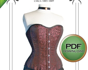 """Instant Digital download Victorian Corset Sewing Pattern long line 1880's XL 38"""" -40"""" 42"""" waist Plus size corset great fitting"""