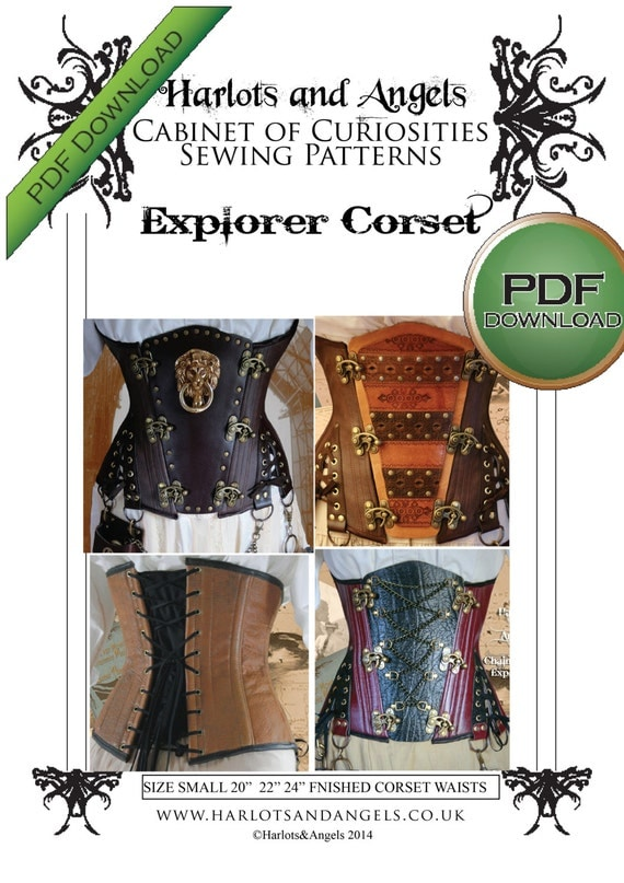 Steampunk Sewing Patterns- Dresses, Coats, Plus Sizes, Men's Patterns NEW! Explorer Underbust Corset Sewing Pattern. Instant download. Small size. $8.00 AT vintagedancer.com