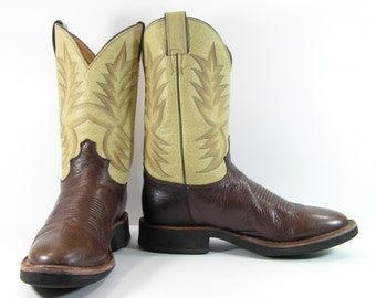 justin cowboy boots mens 10 D brown crepe sole western leather