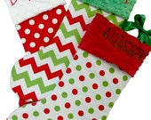 Christmas Stocking Red and White Polka Chevron Dot Minky Personalized Set of 3
