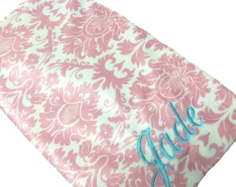 Pillowcase Pink and White Damask Pillowcas Personalized