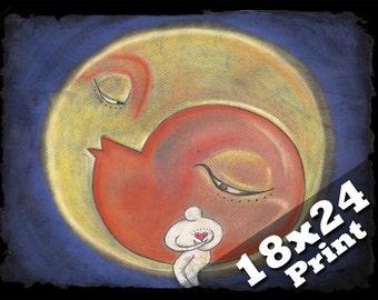 moon of my life in loving memory follow your dreams sleepy moon poster family print | Kids wall art dreamy decor celestial 18x24 print