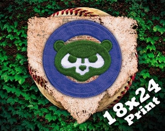chicago cubs wrigley field baseball kids sports wall art mlb sports poster | cubby blue bear chicago poster cubbies ivy wall 18x24 print
