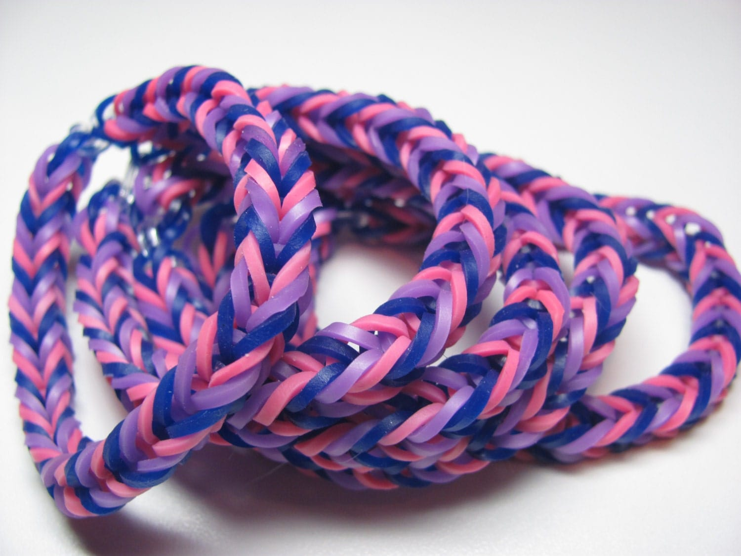 Bisexual Pride Bracelets Rainbow Loom Rubber Band Stretch