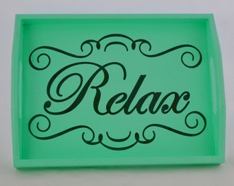 Relax Mint Green Wooden Serving Tray with handles, vanity tray