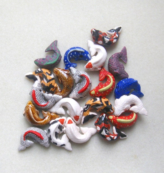 Peruvian ceramics koi fish pendant beads craft supplies for Koi fish beads