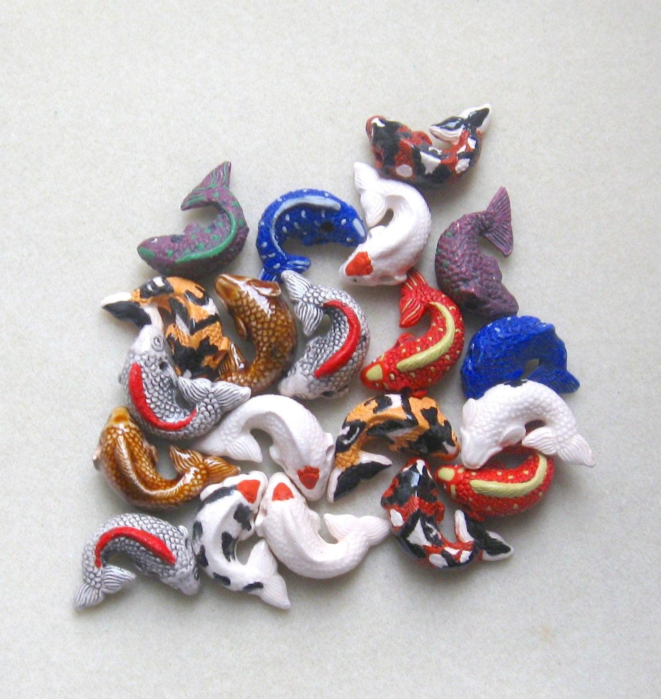 Peruvian ceramics koi fish pendant beads by for Koi fish beads