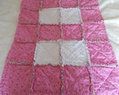 Pink Paisley baby girl rag quilt