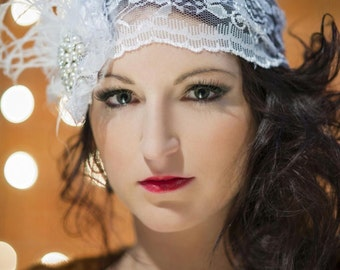 Gatsby-esque Vintage Lace Wedding Cloche with Pearl and Feather Accents