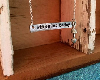 NEW-Stronger Today With Dumbbell Charm Hand Stamped Necklace