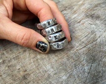 New-Intro Sale-Mens/Womens Hammered Pewter Initial Ring