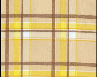 Plaid Oilcloth in Brown and Yellow