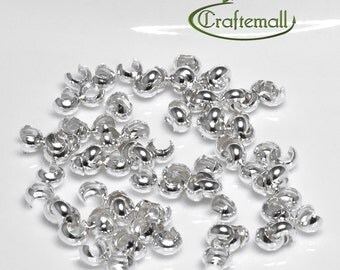 Sterling silver crimp cover - 4mm crimp cover beads - set of 50 crimp covers