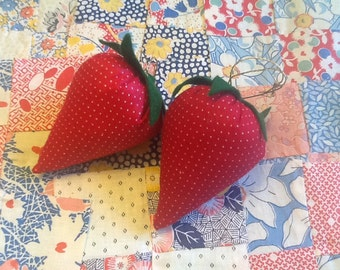 Stuffed fabric strawberries