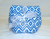 Classic Make Up Bag Gift Set in Royal Blue and White Southwestern Print