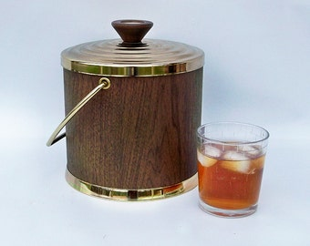 Mid-Century Ice Bucket - Gail-A-Ware Faux Walnut - New Old Stock