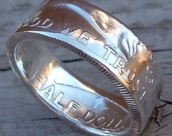 Franklin Half Dollar Coin Ring (90% Silver) (Available in sizes 8.5 through 13)