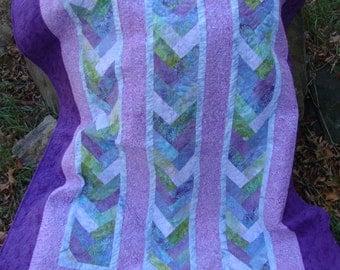 Lap Quilt Purple Braid Batik No 2 Twin Throw