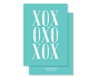 XOX (Hugs and Kisses and a bit of Love) Greeting Card - teal by Erupt Prints