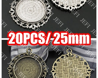 20 Pendant Trays- Alloy Filigree Rope-Edged 25mm Round Bezel Setting, Antique Bronzed Tone (R24476)/ Antique Silver Tone (R27459) available