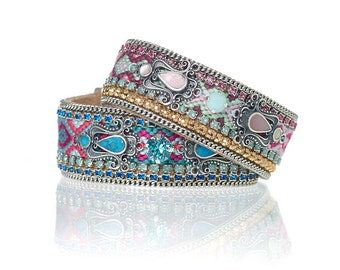 Hand woven and embellished fabric cuff - pastel friendship bracelet - OOAKjewelz original boho chic festival cuff - bohemian bracelet