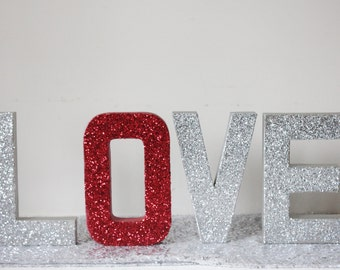 Silver Letters Freestanding Popular Items For Red Glitter Letters On Etsy