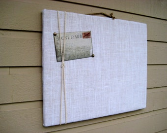 Burlap Pin Board, Soft off-white Photo Memory Board, macrame cord or jute twine accent to display photo's, great for wedding placecards