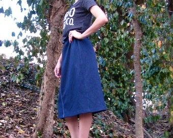 Vintage 1970s Polyester SCHOOL Girl  A Line Skirt Denim Inspired