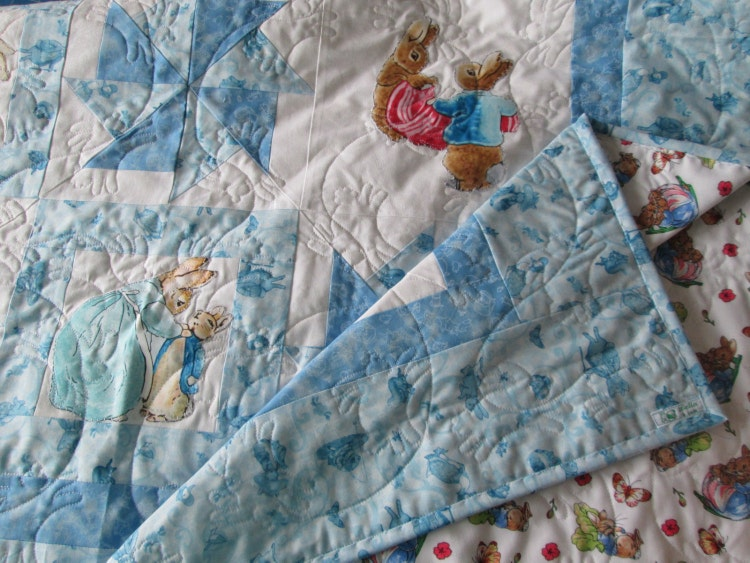 Peter Rabbit Baby Quilt Throw Playmat In Blue Beatrix By