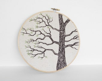 "Tree Art Hand Embroidery in Brown, Tan and Green Leaves. Neutral Nature Embroidery Hoop Wall Art 8"". Embroidered Fiber Art Wall Hanging"