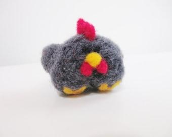 Needle Felted Chicken Miniature Figurine Soft Sculpture Pocket Pal Plush Chicken Chook Grey Hen