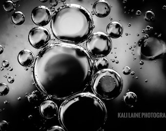 Abstract Black Bubbles -  Fine Art Photography Print, Abstract Art, Abstract Photography, Oil and Water Photography, Art