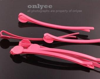 14pcs-64mm Bobby Pin Hair Sticks with 8mm Pad-HotPink(E251)