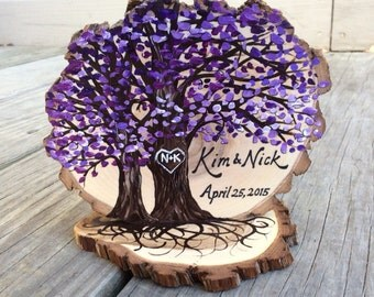 Rustic Tree Slice Wedding Cake Topper, Personalized with Your Custom Wedding Colors