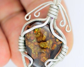 mexican fire agate heart pendant