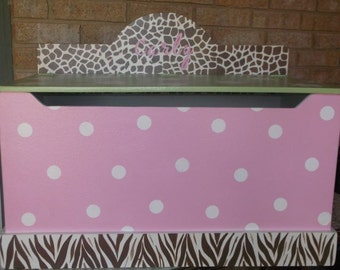 Toy Box Kids and Baby Jungle Jill Bench Nursery Toy Chest HOPE Chest Toy Bin Toy Storage Custom Painted  Kids Baby