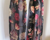 "Beautiful Sheer Black Floral Poly Scarf - 14"" x 60"" Long"