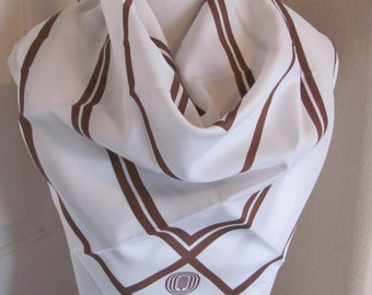 "Lovely White Brown Ladies Poly Scarf - 27"" Inch 69cm Square"