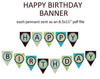 Printable Happy Birthday banner - coordinates with our blue owl birthday theme